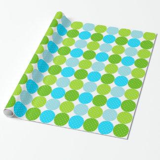 Niedliches blaues und grünes Polka-Punkt-Muster Geschenkpapier