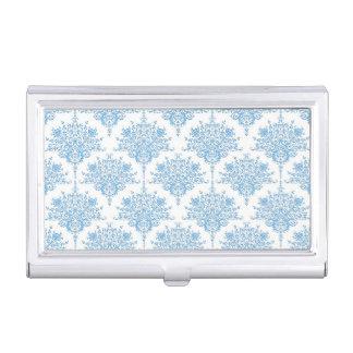 Niedliches blaues und weißes Damast-Muster Visitenkarten-Dose
