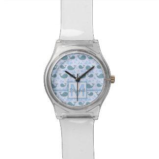 Niedliches Blauwal-Monogramm-Muster Armbanduhr