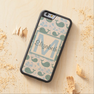 Niedliches Blauwal-Muster-Monogramm Bumper iPhone 6 Hülle Ahorn