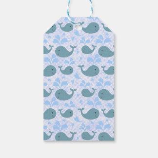 Niedliches Blauwal-Muster-Monogramm Geschenkanhänger