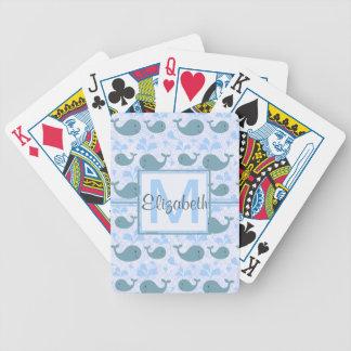 Niedliches Blauwal-Muster-Monogramm Poker Karten