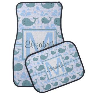 Niedliches Blauwal-Muster-Monogramm