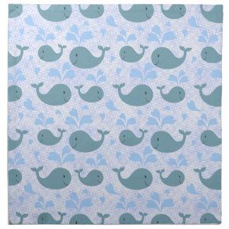 Niedliches Blauwal-Muster Bedruckte Servietten