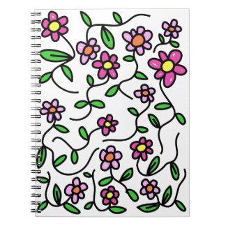 Niedliches Blumen-Gekritzel-Notizbuch Notizblock