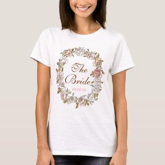 niedliches Blumenmonogramm, Braut T-Shirt