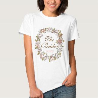 niedliches Blumenmonogramm, Braut T-Shirts