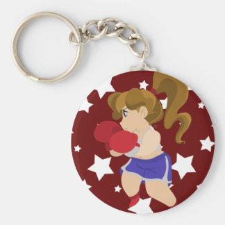 Niedliches Boxer-Mädchen Standard Runder Schlüsselanhänger