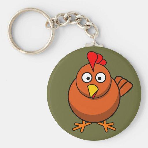 Niedliches Brown-Huhn Keychain Schlüsselanhänger