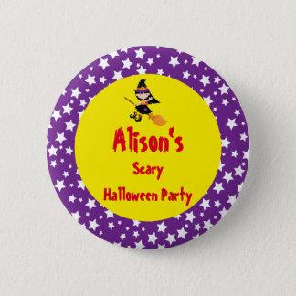 Niedliches brünettes Hexe-Halloween-Party Runder Button 5,7 Cm