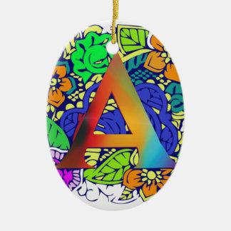 Niedliches buntes Blumenmit Monogramm Muster a Keramik Ornament