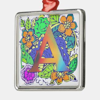 Niedliches buntes Blumenmit Monogramm Muster a Quadratisches Silberfarbenes Ornament