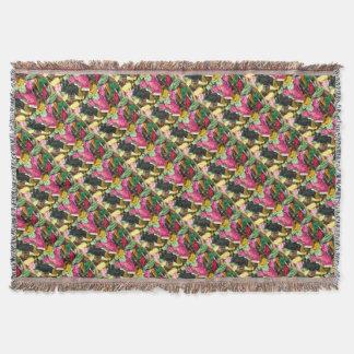 Niedliches buntes helles rosa Stickereiherz Decke