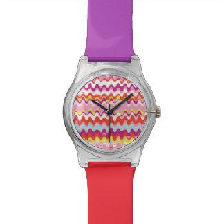Niedliches buntes rosarotes abstraktes armbanduhr