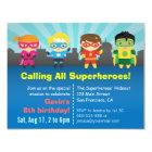 Niedliches buntes Superhero-Geburtstags-Party Karte