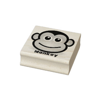 Niedliches Cartoon-Affe-Gesicht Gummistempel
