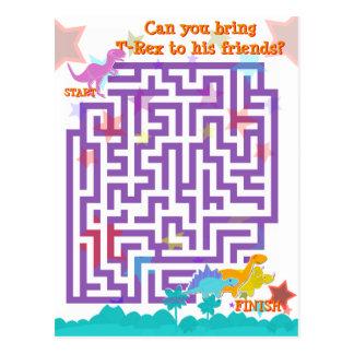 Niedliches Cartoon-Dinosaurier-Labyrinth-Puzzlespi Postkarte