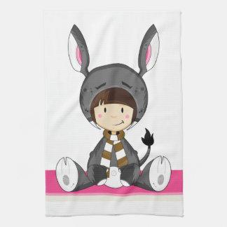 Niedliches Cartoon-Esel-Mädchen Handtuch