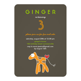 Niedliches Cartoon-Giraffen-Kindergeburtstag-Foto 11,4 X 15,9 Cm Einladungskarte