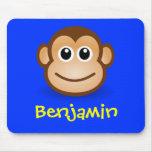 Niedliches Cartoon-glückliches Affe-Gesichts-perso Mousepads