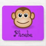 Niedliches Cartoon-glückliches Affe-Gesichts-perso Mauspad