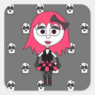 Niedliches Cartoon Goth Mädchen und Quadrat-Aufkleber