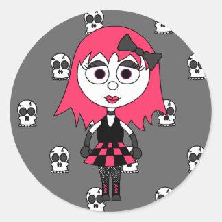 Niedliches Cartoon Goth Mädchen und Runder Aufkleber