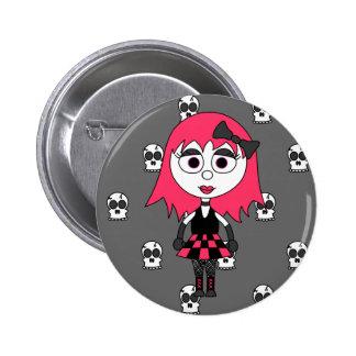 Niedliches Cartoon Goth Mädchen und Schädel-Button Runder Button 5,1 Cm