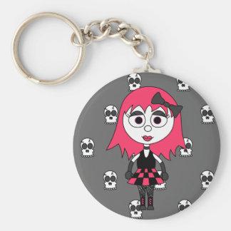 Niedliches Cartoon Goth Mädchen und Schädel Keycha Standard Runder Schlüsselanhänger