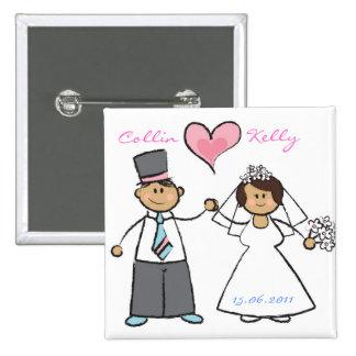 Niedliches Cartoon-Hochzeits-Paar-Braut-Bräutigam- Anstecknadelbuttons