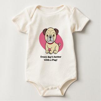 Niedliches Cartoon-HundeMops-Baby-T-Stück Baby Strampler