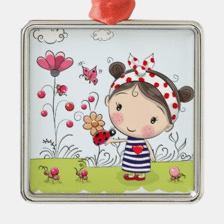 Niedliches Cartoon-Mädchen mit Marienkäfer in der Silbernes Ornament