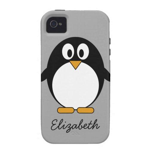 niedliches Cartoon Penguingrau Case-Mate iPhone 4 Cover