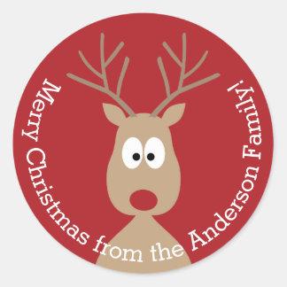 Niedliches Cartoon-Ren - frohe Weihnacht-Gruß Runder Aufkleber