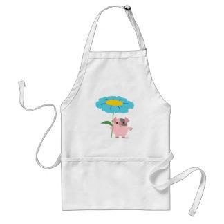 Niedliches Cartoon-Schwein mit Geschenk-(blauer) Schürze