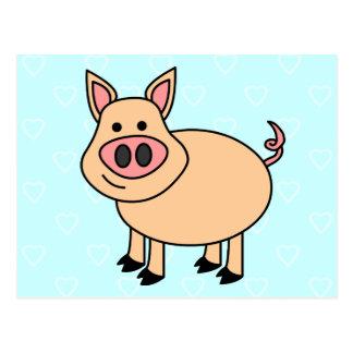 Niedliches Cartoon-Schwein Postkarte