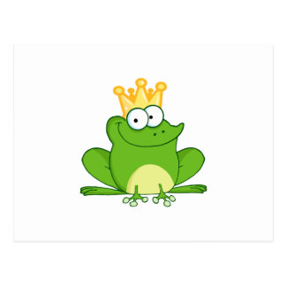 Niedliches Cartoon-Tier König-Frog Frogs Crown Postkarten