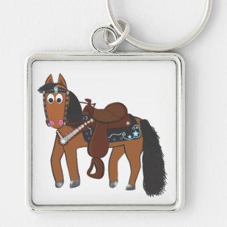 Niedliches Cartoon-Western-Pferd Silberfarbener Quadratischer Schlüsselanhänger