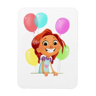 Niedliches cartoony Mädchen mit Ballonen lächelnd Magnet