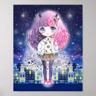 Niedliches chibi Mädchen in einer Stadt der Sterne Poster