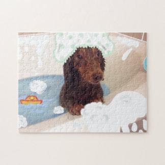 Niedliches Dackelhundebadwannepuzzlespiel Puzzle