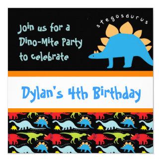 Niedliches Dinosaurier-Geburtstags-Party Quadratische 13,3 Cm Einladungskarte