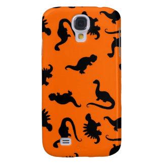Niedliches Dinosaurier-Muster auf Orange Galaxy S4 Hülle