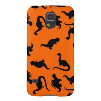 Niedliches Dinosaurier-Muster auf Orange Galaxy S5 Hülle
