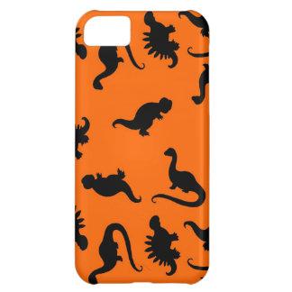 Niedliches Dinosaurier-Muster auf Orange iPhone 5C Hülle