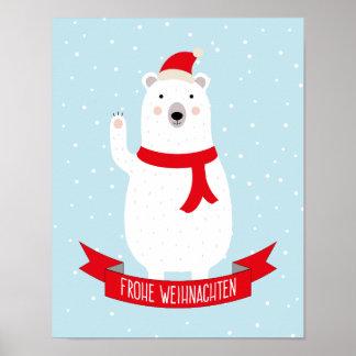 """Niedliches Eisbär """"Frohe Weihnachten"""" Deutsch Poster"""
