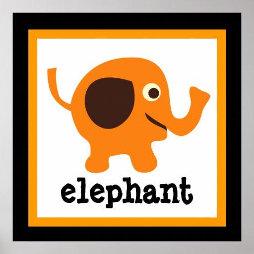 Niedliches Elefant-Safari-Tier-Baby scherzt Plakat