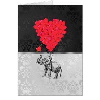 Niedliches Elefant- und Liebeherz auf Grau Karte