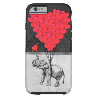 Niedliches Elefant- und Liebeherz auf Grau Tough iPhone 6 Hülle