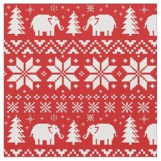 Niedliches Elefant-Weihnachtsmuster-Rot Stoff